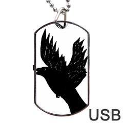 Crow Dog Tag Usb Flash (two Sides)  by JDDesigns