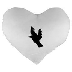 Crow Large 19  Premium Flano Heart Shape Cushions by JDDesigns