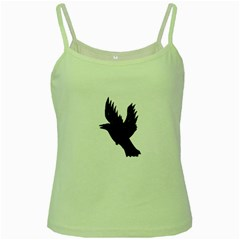 Hovering crow Green Spaghetti Tanks by JDDesigns