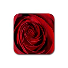 Beautifully Red Rubber Square Coaster (4 Pack)  by timelessartoncanvas