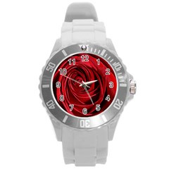Beautifully Red Round Plastic Sport Watch (l) by timelessartoncanvas