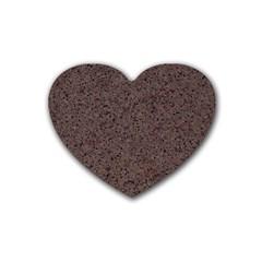 Granite Red Brown Rubber Coaster (heart)  by trendistuff