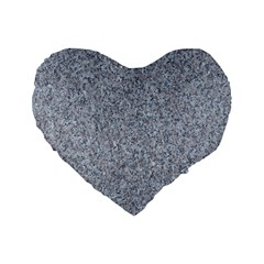 Granite Blue Grey Standard 16  Premium Flano Heart Shape Cushions by trendistuff