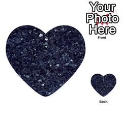 Granite Blue Black 1 Multi Purpose Cards (heart)