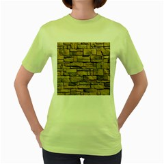 Block Wall 1 Women s Green T Shirt by trendistuff