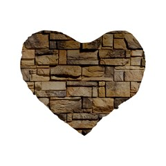 Block Wall 1 Standard 16  Premium Flano Heart Shape Cushions by trendistuff
