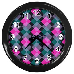 Argyle Variation Wall Clock (black) by LalyLauraFLM