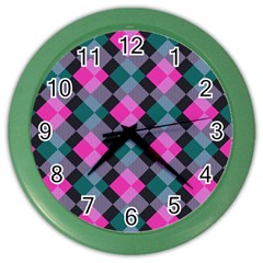 Argyle Variation Color Wall Clock by LalyLauraFLM