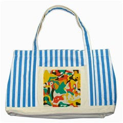 Cubist Art Striped Blue Tote Bag by LalyLauraFLM