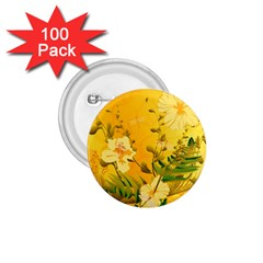 Wonderful Soft Yellow Flowers With Dragonflies 1 75  Buttons (100 Pack)  by FantasyWorld7