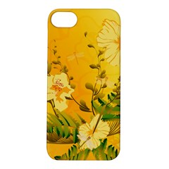 Wonderful Soft Yellow Flowers With Dragonflies Apple Iphone 5s Hardshell Case by FantasyWorld7