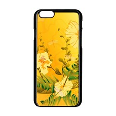 Wonderful Soft Yellow Flowers With Dragonflies Apple Iphone 6/6s Black Enamel Case by FantasyWorld7