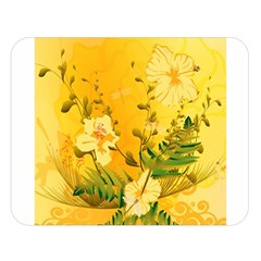 Wonderful Soft Yellow Flowers With Dragonflies Double Sided Flano Blanket (large)  by FantasyWorld7