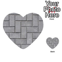 Alternating Grey Brick Multi Purpose Cards (heart)  by trendistuff