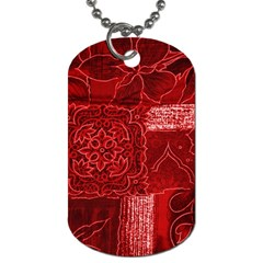 Red Patchwork Dog Tag (two Sides) by trendistuff