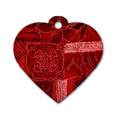 Red Patchwork Dog Tag Heart (two Sides) by trendistuff