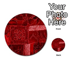 Red Patchwork Multi Purpose Cards (round)  by trendistuff