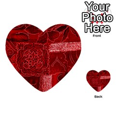 Red Patchwork Multi Purpose Cards (heart)  by trendistuff