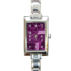 Magenta Patchwork Rectangle Italian Charm Watches by trendistuff