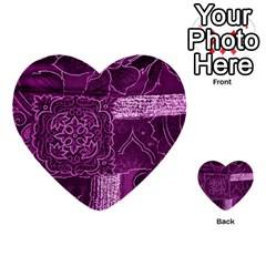Magenta Patchwork Multi Purpose Cards (heart)  by trendistuff