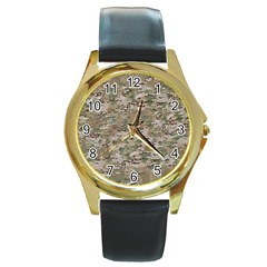 Camo Woodland Faded Round Gold Metal Watches by trendistuff