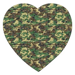 CAMO WOODLAND Jigsaw Puzzle (Heart) by trendistuff
