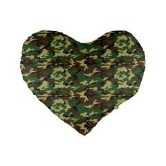 CAMO WOODLAND Standard 16  Premium Flano Heart Shape Cushions by trendistuff