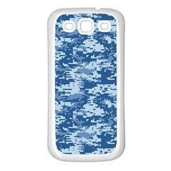 Camo Digital Navy Samsung Galaxy S3 Back Case (white) by trendistuff
