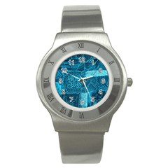 Blue Patchwork Stainless Steel Watches by trendistuff