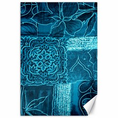 Blue Patchwork Canvas 20  X 30   by trendistuff