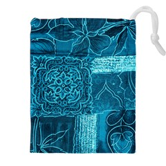 Blue Patchwork Drawstring Pouches (xxl)