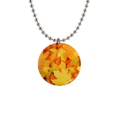Yellow Maple Leaves Button Necklaces