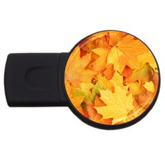 Yellow Maple Leaves Usb Flash Drive Round (4 Gb)  by trendistuff