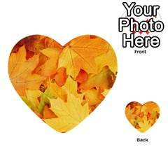 Yellow Maple Leaves Multi Purpose Cards (heart)  by trendistuff
