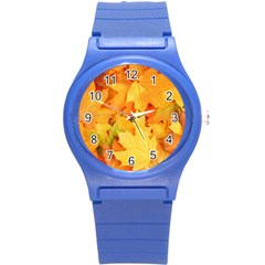 Yellow Maple Leaves Round Plastic Sport Watch (s) by trendistuff