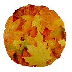Yellow Maple Leaves Large 18  Premium Round Cushions by trendistuff