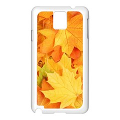 Yellow Maple Leaves Samsung Galaxy Note 3 N9005 Case (white) by trendistuff
