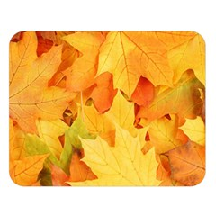 Yellow Maple Leaves Double Sided Flano Blanket (large)  by trendistuff