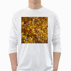 Yellow Leaves White Long Sleeve T Shirts by trendistuff