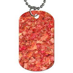 Red Maple Leaves Dog Tag (one Side) by trendistuff