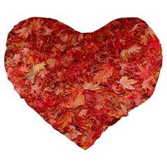 Red Maple Leaves Large 19  Premium Flano Heart Shape Cushions by trendistuff