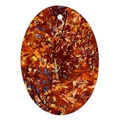 Orange Leaves Ornament (oval)  by trendistuff