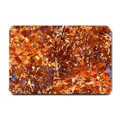Orange Leaves Small Doormat  by trendistuff