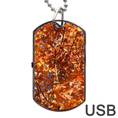Orange Leaves Dog Tag Usb Flash (one Side) by trendistuff