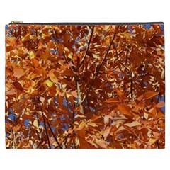 Orange Leaves Cosmetic Bag (xxxl)  by trendistuff