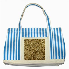 Light Colored Straw Striped Blue Tote Bag  by trendistuff