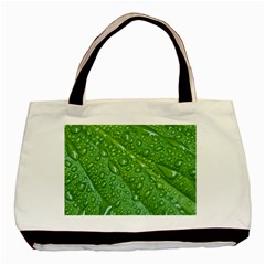 Green Leaf Drops Basic Tote Bag (two Sides)  by trendistuff
