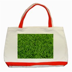Green Grass 2 Classic Tote Bag (red)  by trendistuff