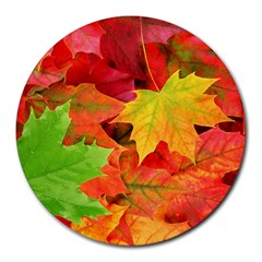 Autumn Leaves 1 Round Mousepads by trendistuff