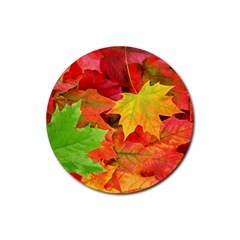Autumn Leaves 1 Rubber Coaster (round)  by trendistuff